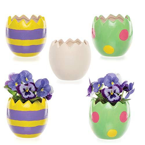 """Baker Ross Keramik-Blumentöpfe """"Osterei"""" für Kinder zum Bemalen und Dekorieren im Frühjahr (4 Stück)"""