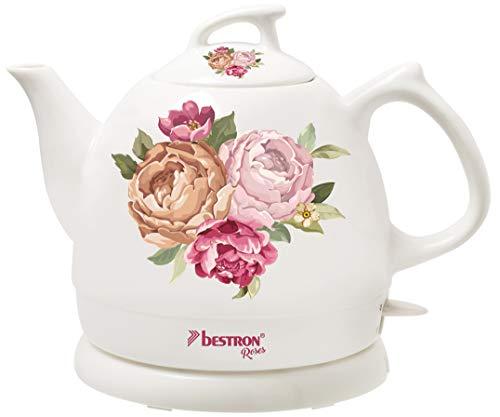 Bestron Wasserkocher im Retro Design, 0,8 Liter, Ca. 1800 Watt, Keramik, Aufdruck: Rosen