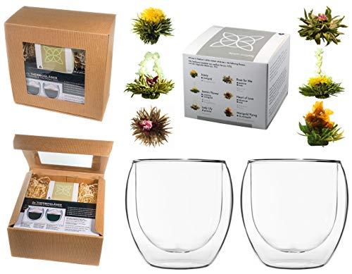 TEEBLUMEN-GESCHENKSET / 2x 410ml DUOS Jumbo Doppelwandgläser + 6er Box Teeblumen weißer Tee in neutraler naturfarbiger Geschenk-BOX - by Feelino