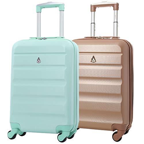 Aerolite 2 Teilig Leichtgewicht ABS Hartschale 4 Rollen Handgepäck Trolley Koffer Bordgepäck Kabinentrolley Reisekoffer Gepäck, Genehmigt für Ryanair...
