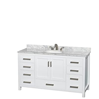 Wyndham Collection Sheffield 60 inch Single Bathroom Vanity in White, White Carrara Marble Countertop, Undermount Oval Sink, and No Mirror