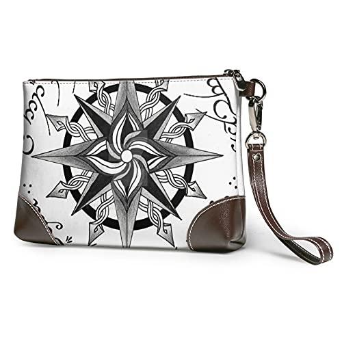 mengmeng Vintage Compass 3 Bolso de pulsera Cuero auténtico Bolsos de pulsera para las mujeres bolso de embrague bolsos con correa de muñeca y cierre de cremallera