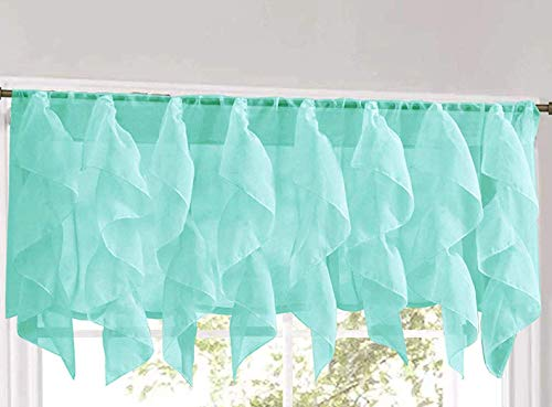 LORRAINE HOME FASHIONS Cascade Sea Shabby Chic Sheer Ruffled Valance