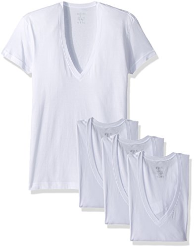 2(X)IST Men's Essential Cotton Slim Fit Deep V Neck T-Shirt 3-Pack, White, Small