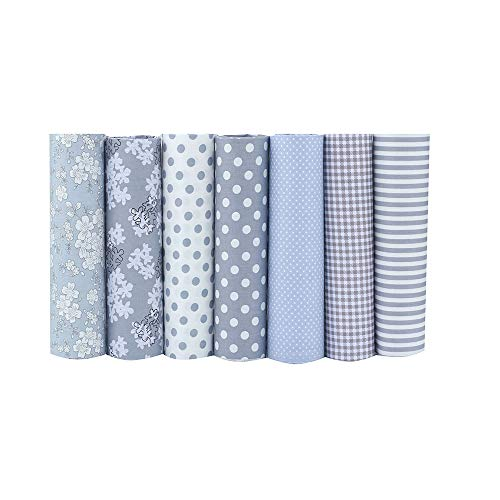 """ShuanShuo Coffer Series Cotton Fabric Quilting Patchwork Fabric Fat Quarter Bundles Fabric for Sewing DIY Crafts Handmade Bags 15""""X19"""" 7pcs/lot (Gray)"""