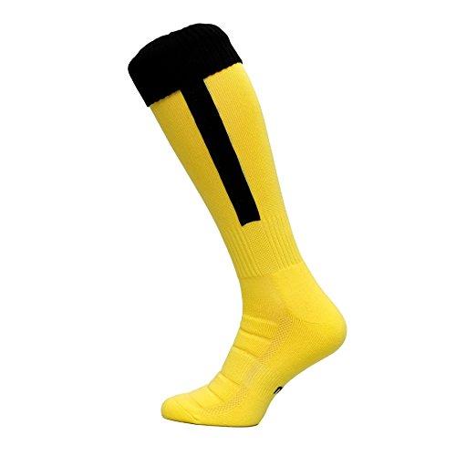Nessi Fußballstutzen Modell B Fußball Strümpfe Stutzen 100% Atmungsaktiv viele Farben - Gelbschwarz, 42-44