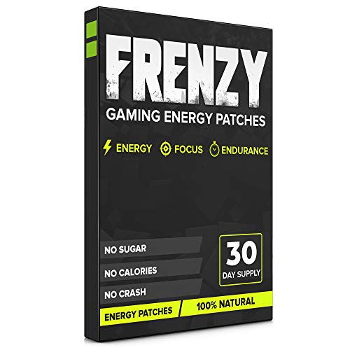 Frenzy Gaming Energy Patches - Energy, Focus and Endurance Patch - Hours of Energy for Streamers & Gamers Improved Focus and Reaction 100% Natural, GMP, Non-GMO (30 Day Supply)