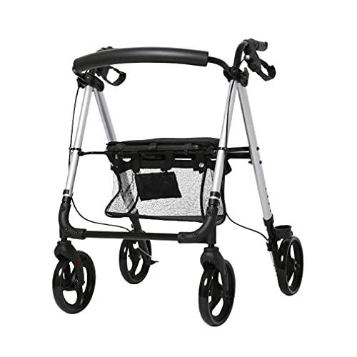 Caminante,Carro Plegable para Ancianos de 4 Ruedas con Asiento,Andadorbariátrico,Frenos con Cerradura,Altura Ajustable - Transporte Silla de Descanso Carrito de Compras Caminante