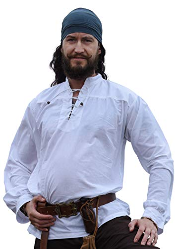 Battle-Merchant Mittelalter-Hemd Ludwig LARP Wikinger Kleidung Herren Weiß, M