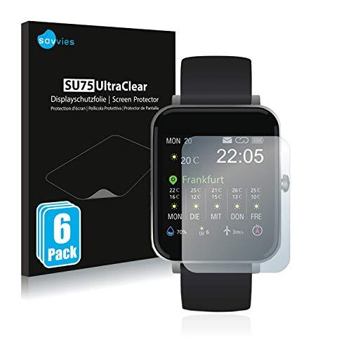 """savvies 6-Pezzi Pellicola Protettiva Compatibile con Souccess Smartwatch 1.54"""" Protezione Schermo Trasparente"""