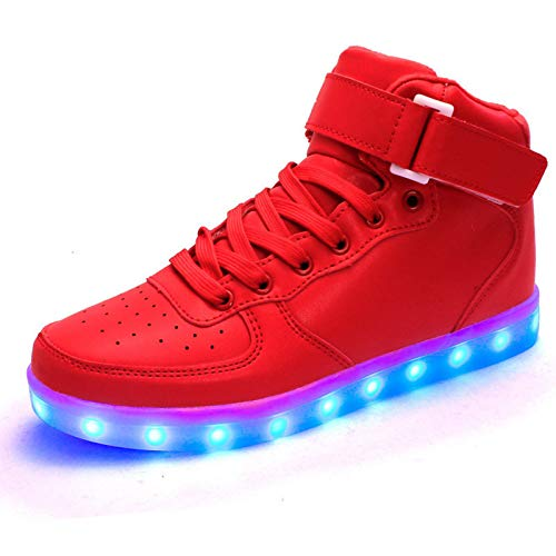 IGxx Unisex LED Shoes Light Up Shoes High Top LED Sneakers for Men Women Kids Glowing Luminous Flashing Light Boots for Halloween with USB Recharging Red