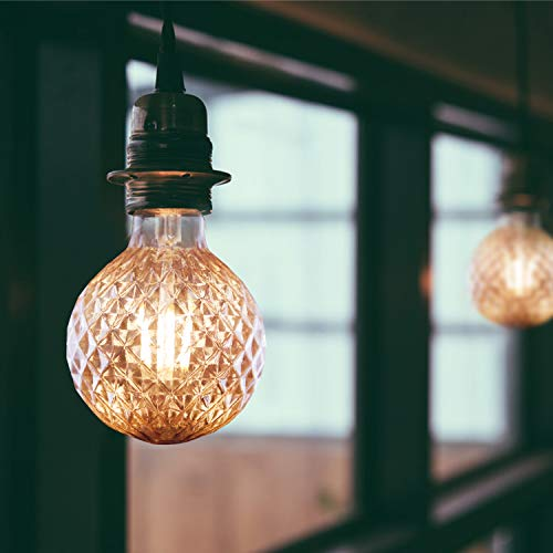 LED Vintage Glühbirne E27 GBLY 4W Retro Edison Glühlampe Dekorative Strukturierte ⌀95mm Warmweiß Globelampe Golden Antike Lampen für Nostalgie und Retro Beleuchtung im Haus Café Bar, nicht dimmbar