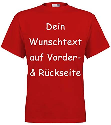 Marken T-Shirt mit Wunschtext - Front- und Rückenprint - Rot L- Sprüche indivduell auf das T-Shirt drucken Lassen | Personalisierter Textildruck