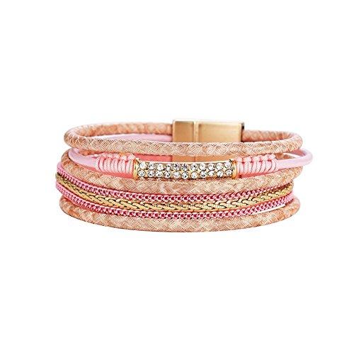 Domybest Vrouwen Sieraden Strass Lederen Armband Magnetische Sluiting Bangle(Roze)