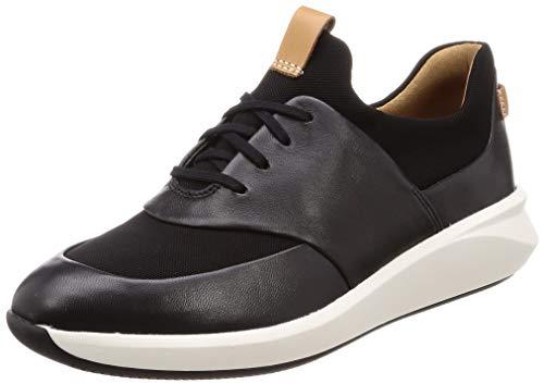 Clarks Un Rio Lace, Zapatillas, Negro (Black Leather Black Leather), 39.5 EU