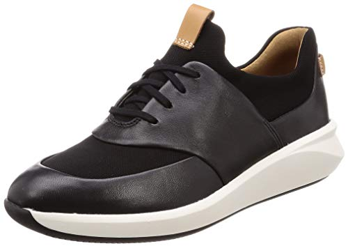 Clarks Un Rio Lace, Zapatillas, Negro (Black Leather Black Leather), 42 EU