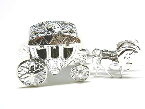 Decoración para tarta para decoración ocasión boda aniversario cumpleaños–caballo y carruaje–plata