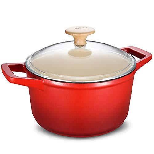 XinQing-Cacerola de Leche Campana de la Leche Olla de Hierro Fundido del Esmalte 22cm Cocina de inducción Sopa de Olla Binaural Universal Gas