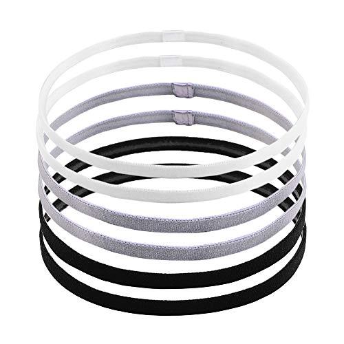 LABOTA 6 Piezas de Diadema Deportiva Bandas de Cabeza Elásticas Delgadas Diadema Antideslizante para Mujeres y Hombres, Negro y Blanco