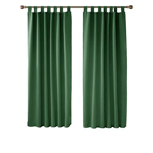 Deconovo Cortinas de Salon Cortinas Termicas Aislantes Frio y Calor para Ventanas Anti Luz con Trabillas 2 Piezas 140 x 175 cm Verde Oscuro