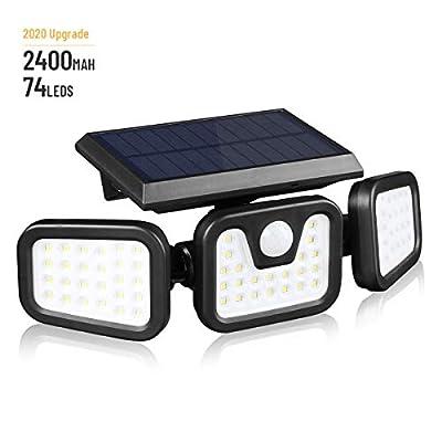 Solar Lights Outdoor with Motion Sensor,3 Heads 74LEDs Solar Flood Light IP65 Waterproof, Adjustable 360° Wide Angle Illumination for Garage,Garden,Patio,Yard,Pathway