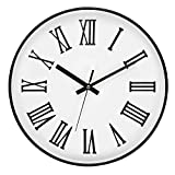 Tebery 12-inch Silent Black Round Wall Clocks Decorative Roman Numeral Clock for Living Room Home Office School