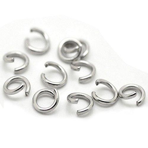 RETYLY 500x Silver Tone Steel Open Jump Rings 6mm