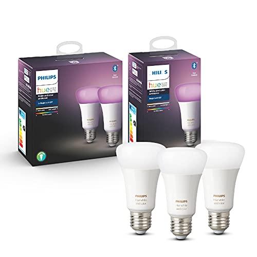 Philips Hue White and Color Ambiance, 3 Lampadine LED Intelligenti, con Bluetooth, Attacco E27, 9 W, Luce da Fredda a Calda e Colorata