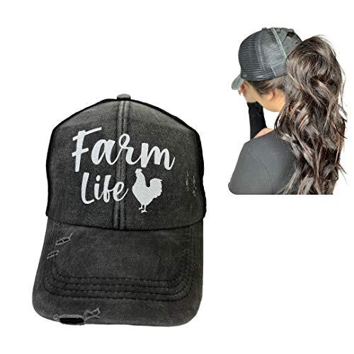 IGYS Live Stock Animals Trucker Hats Stock Show Women s Ponytail Style Hats Barn Life Farm Life Hats (Farm-Life-Chicken)  One Size