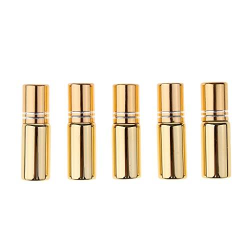 Amuzocity 10pcs Bouteilles Vide Rouleau à Billes en Acier pour Huiles Essentielles Huiles de Parfum et Liquides - Or