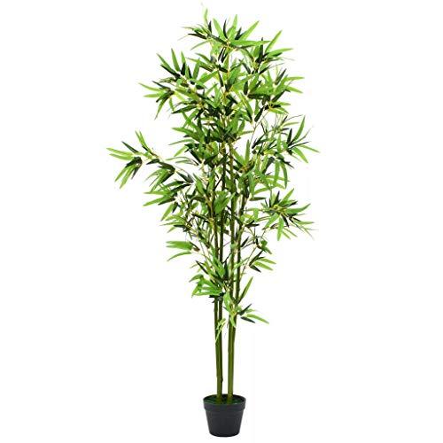 vidaXL Plante Artificielle avec Pot Bambou 175 cm Vert Décor Bureau Maison