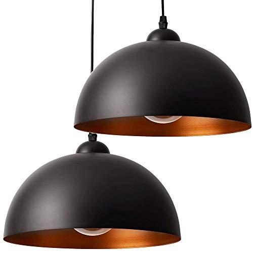 2x Pendelleuchte schwarz gold Set – Retro Deckenlampe für E27 Lampen – 30cm Durchmesser Deckenleuchte Hängelampe Vintage für Esszimmer, Wohnzimmer, Schlafzimmer