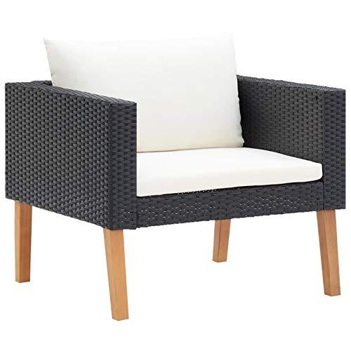 Festnight 1-Sitzer-Gartensofa mit Auflagen Einzelsofa Lounge Sofa Gartenmöbel Loungesofa Polyrattan Poly Rattan Schwarz