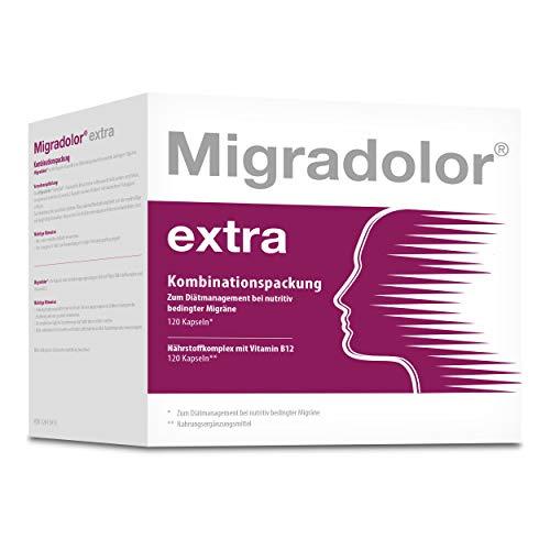 Migradolor Extra - Bei Migräne & Übelkeit - Natürliche Hilfe bei Kopfschmerzen - 2x 120 Kapseln Kombipackung