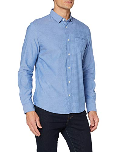 TOM TAILOR Herren Structure Regular Fit Hemd, 24494-blue Chambray with w, XL
