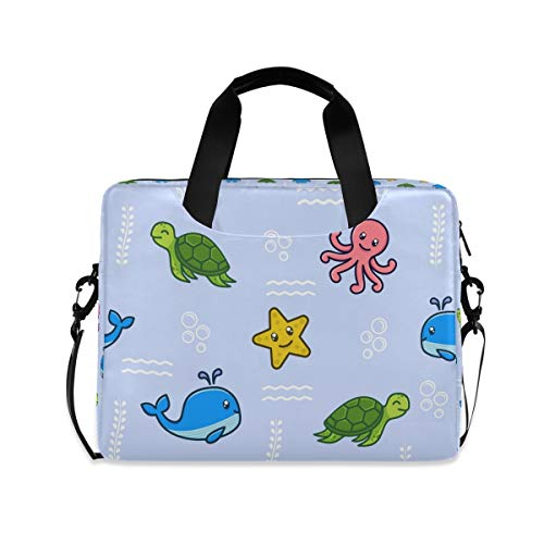 Sea Turtle Octopus Dolphin Laptop Shoulder Bag Notebook Computer Handbag Sleeve Table Carrying Case Messenger Bags Fits 15.4 in for Youth Men Women