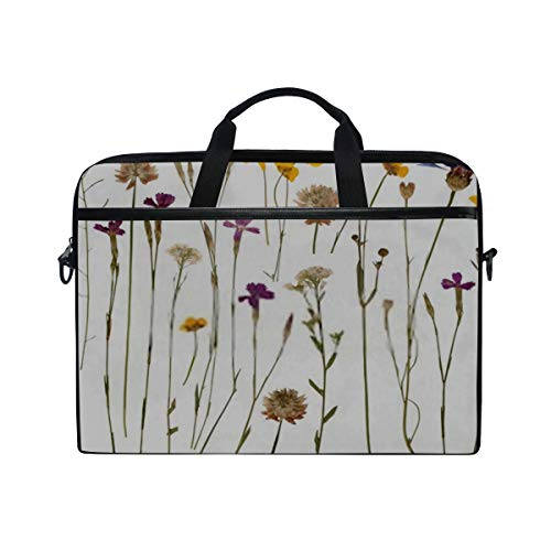 Laptop Shoulder Messenger Bag Case Sleeve for 15 Inch 15.4 Inch Laptop Case Laptop Briefcase Pressed Wild Flowers Isolated On White