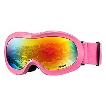VELAZZIO Kids Ski Goggles Snowboard Goggles OTG Snow Goggles Anti-Fog Double-Layer Lenses 100% UV Protection  Bright Pink Frame/Grey Lens with Revo Red Coating (VLT 15%)
