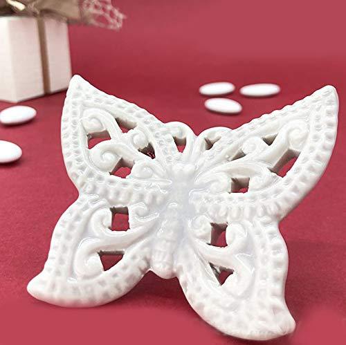 Ingrosso e Risparmio Calamita in Porcellana Color Crema a Forma di Farfalla, bomboniere, segnaposto Eleganti Matrimonio, Comunione (Senza confezionamento)