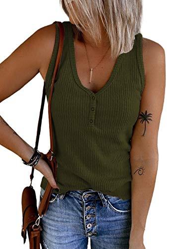 Dokotoo Mujer Camiseta sin Mangas con Botones Tank Top Verano Casual Suelto Camisa Shirts Verde Small