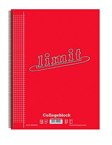 LIMIT 100050535 Collegeblock 10er Pack A4 kariert mit Rand links 80 Blatt rot