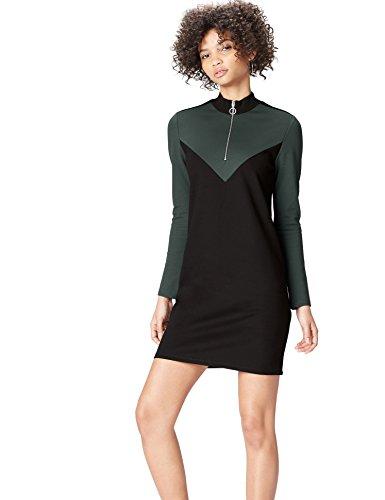 find. Kleid Damen mit Reißverschluss, Colour Blocking, langen Ärmeln und Stehkragen, Schwarz, 40...