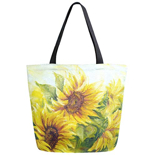 ZzWwR Beautiful Sunflower Oil Painting Print Extra Large Canvas Beach Travel Reusable Grocery Shopping Tote Bag Portable Storage HandBag