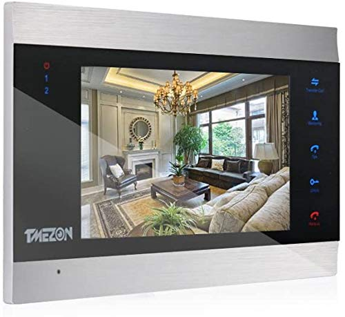 TMEZON 1080P Video Citofono Porta Videocitofono Monitor, Intercom LCD Touch Screen 7 pollici Monitor, compatibile con nuova versione monitor IP 1080P MZ-IP-V739W/B Monitor, audio bidirezionale,argento