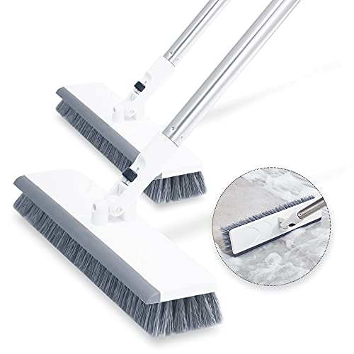 """Keypan 2 Pack Floor Scrub Brush with Long Handle, 50"""" Stiff Bristle Brush Scrubber Cleaning Brush for Cleaning Bathroom Bathtub Tile Tub Kitchen Patio Wall"""