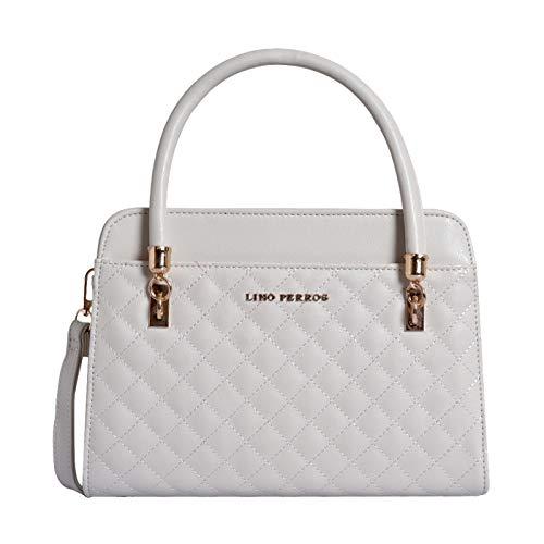 Lino Perros Beige Faux Leather Handbag (WHITE)