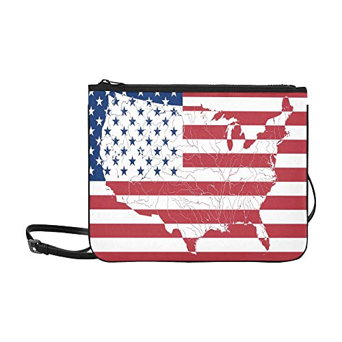Map Of The United States Of America On The Americ Pattern Custom High-grade Nylon Slim Clutch Bag Cross-body Bag Shoulder Bag