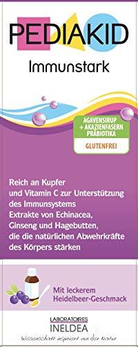PEDIAKID- IMMUNSTARK - 125 ml - Zur Stärkung aller Abwehrkräfte des Organismus - Glutenfrei - Vegan - Ab Aufnahme der Beikost - Leckerer Geschmack - ISO 22000:2005 zertifiziert