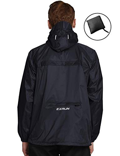 EZRUN Men's Waterproof Hooded Rain Jacket Windbreaker Lightweight Packable Raincoat(Black,L)