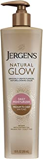 Jergens Natural Glow Sunless Tanning Lotion, Self Tanner for Medium to Deep Skin Tone, Body Lotion for Natural Looking Ta...
